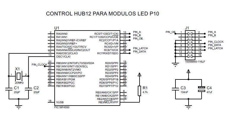módulos led p10 con pic18f4550